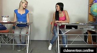 Excited teen lesbians masturbating pussies