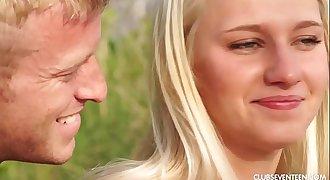 Amazing blonde teenager Sara fucking outdoors