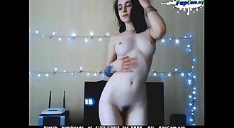 Cute Young Hairy Unexperienced Teen Dancing Naked on Webcam